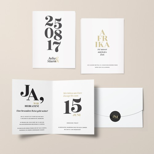 Expressive, pure and stylish wedding card