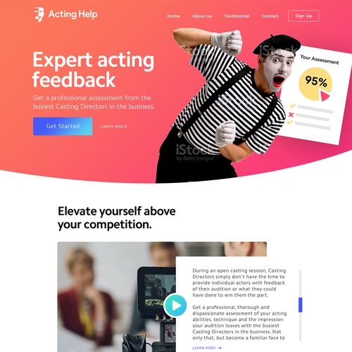 Web Design for Acting Feedback Company