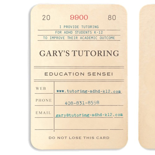 Library themed business cards for tutoring
