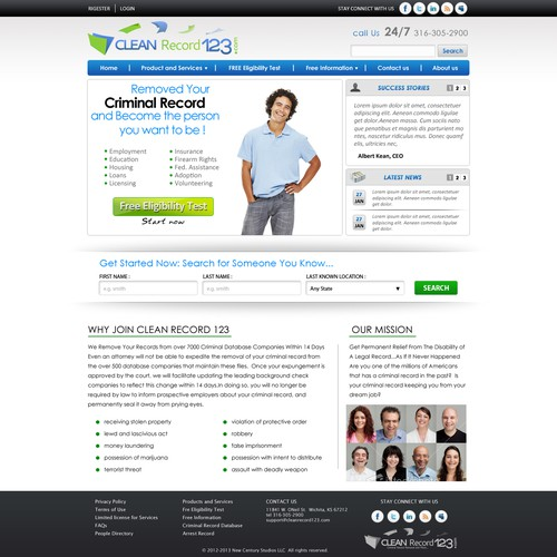 New website design wanted for CleanRecord 123.com