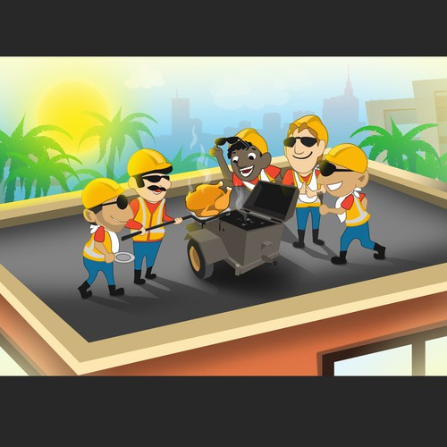 Fun ThanksGiving Illustration for Roofing company in Miami