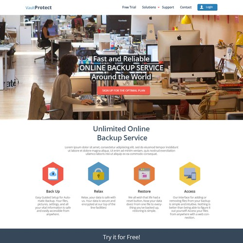 Landing page for an Online Backup Site
