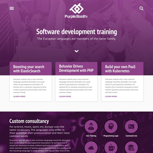 Home Page for Software training company