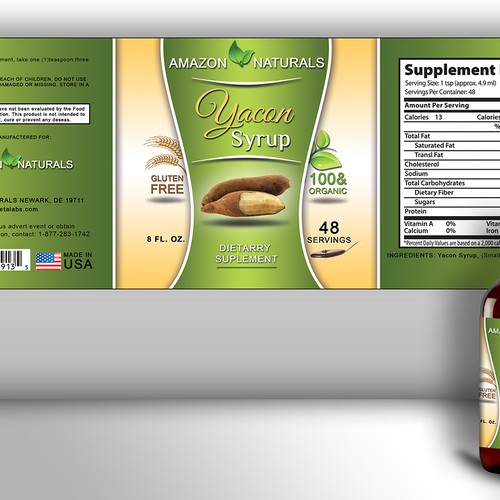 Yacon Syrup Dietary Supplement Label Design