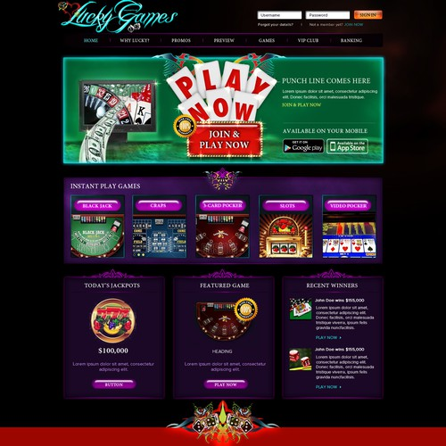LuckyGames needs a Home Page design