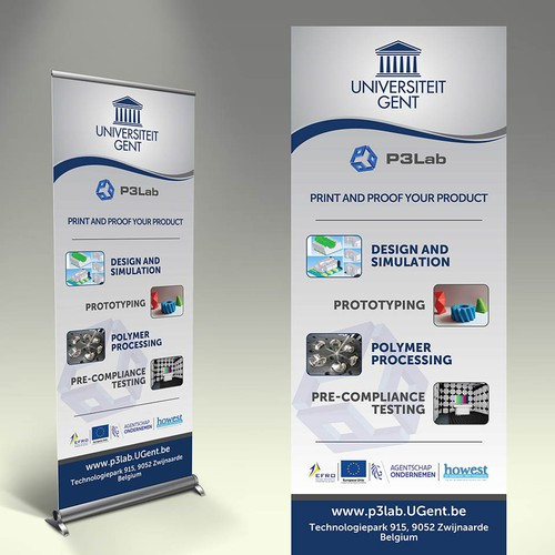 Roll up banner for university group combining the polymer labs and the fablab