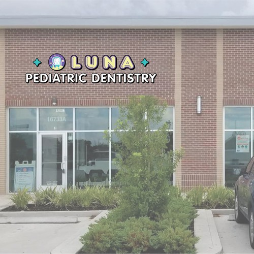 The storefront sign for Luna Pediatric Dentistry