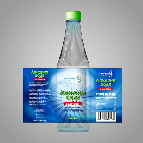 Eye catching label for Alkaline water