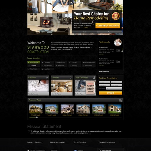 Starwood Construction needs new artistic, creative home remodeling website design