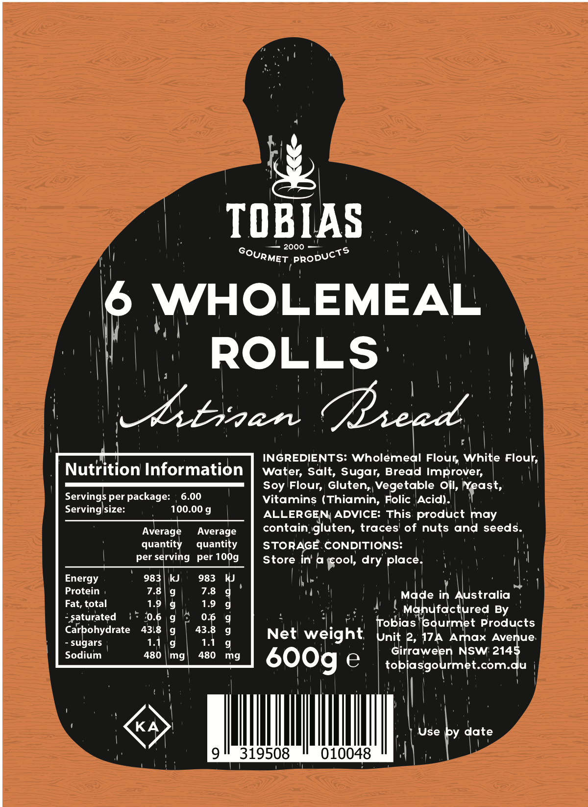 Tobias Gourmet Products - Packaging Label
