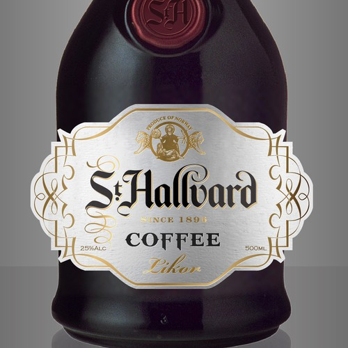 Create a label for a new Coffee Liqueur for the Nordic countries