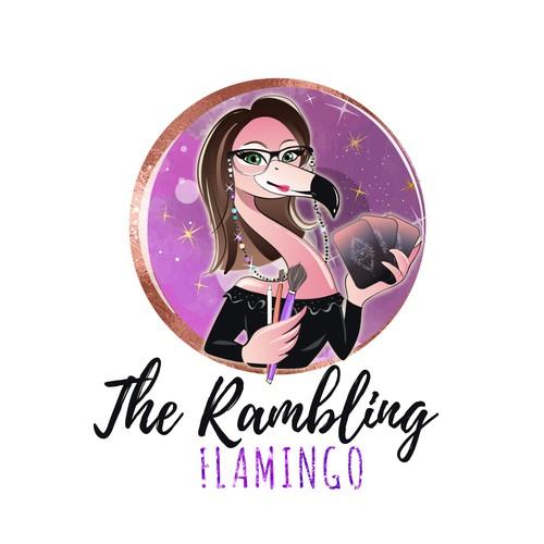 Feminine mascot flamingo logo