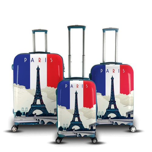 Luggage print design-famous world destination theme