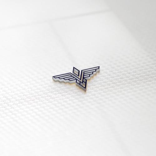 letter V and bird line logo concept
