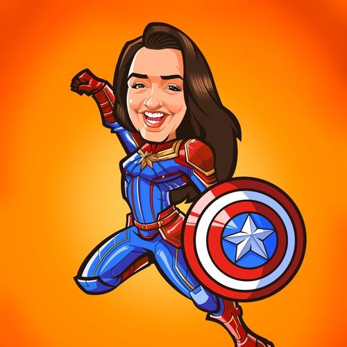 Captain Marvel Caricature