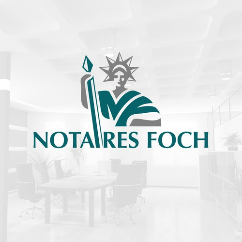 an elegant abbreviation NF logo for frence law office Notaires Foch