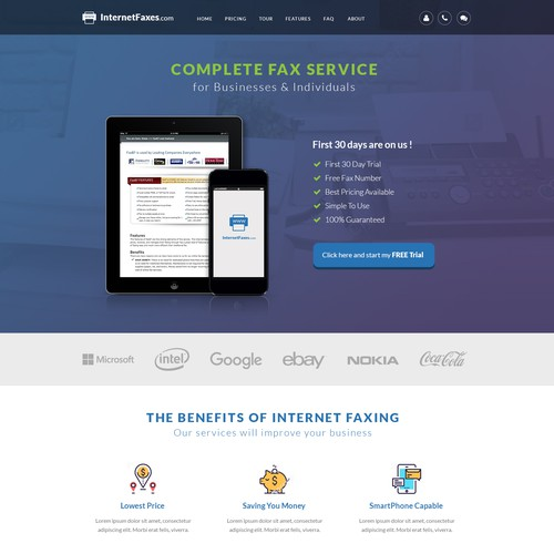 "Landing Page for ""Internet Faxes"""