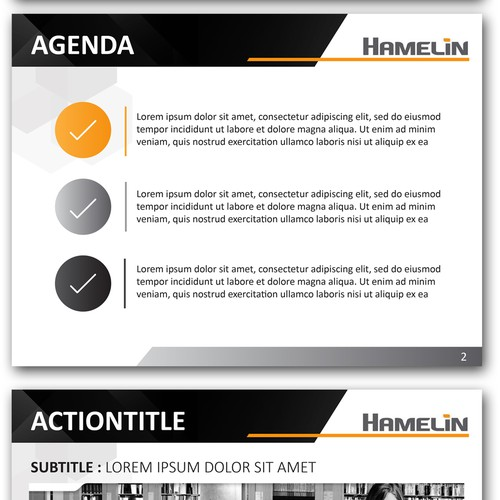 Powerpoint Design for a Corporate Presentation in Orange, Black and Grey