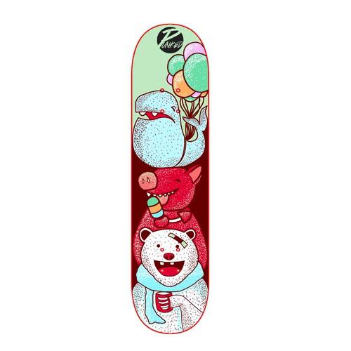 Punked skateboard