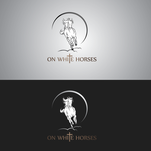 Religious logo for ON WHITE HORSES