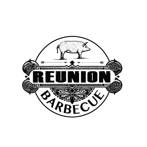 Design a hipster logo for Reunion Barbecue