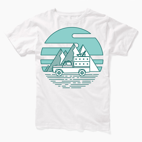 Simple Classic Truck and Sled Tshirt design