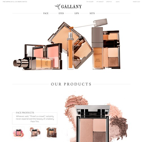 home page for gallany cosmetics
