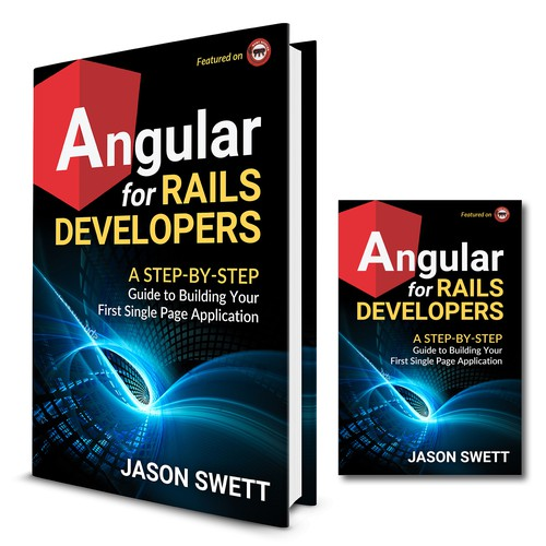 "Design a professional-looking technical book cover for ""Angular for Rails Developer"""
