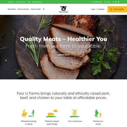 Fun homepage for meat producer