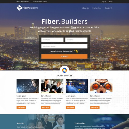 Create a badass site for Fiber Builders