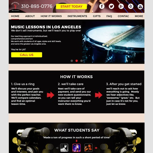 Website for music lessons