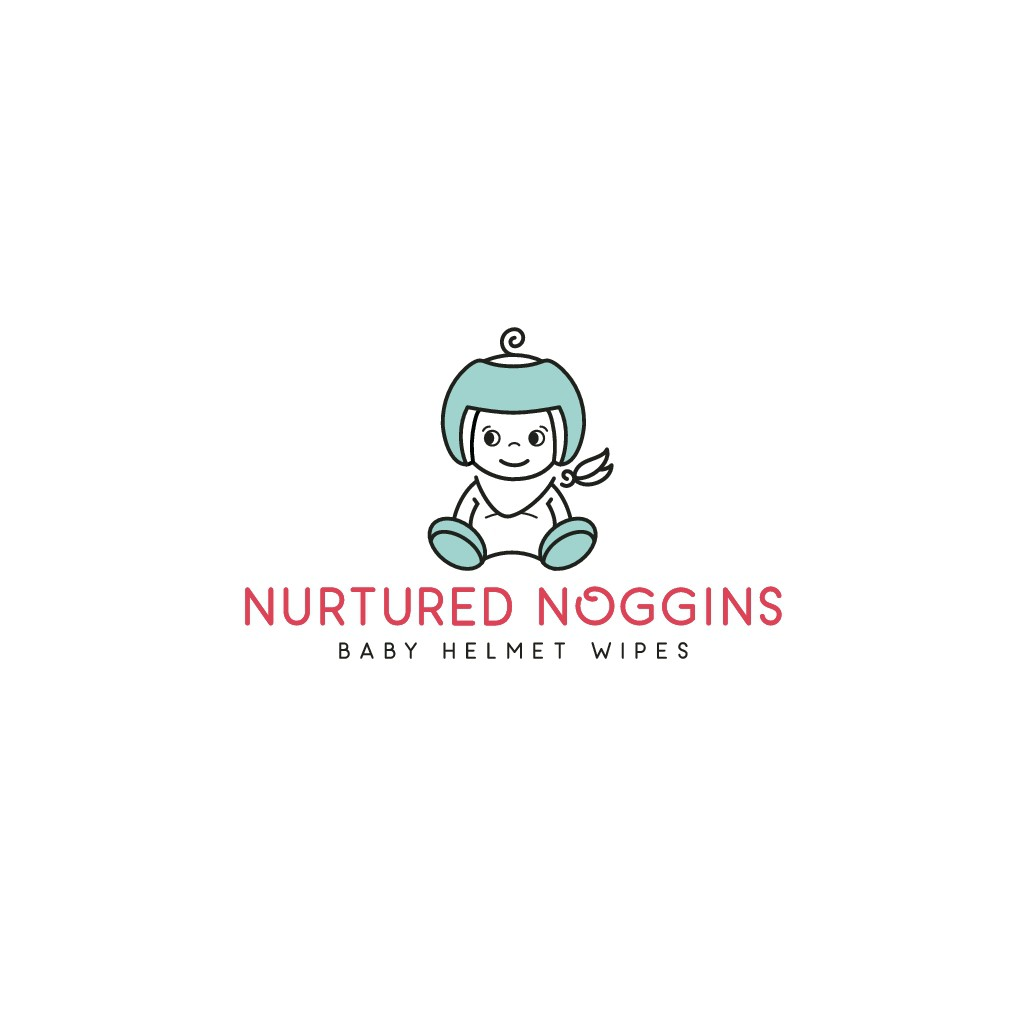 A cute, fun logo design for babies with helmets