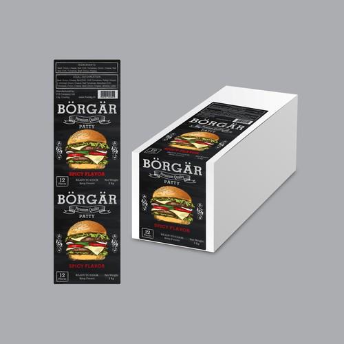 Label design for Burger Patty carton