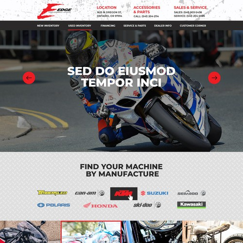 Home page design for Powersports dealership