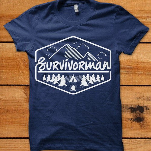 Simple, clean, and playful design for outdoor t-shirt