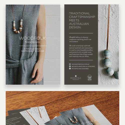 Postcard Flier for Ethical Brand WOODFOLK