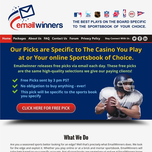 Emailwinners.com Landing Page redesign