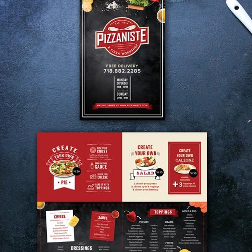 Fun pizzeria menu design