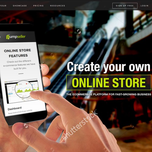 Create a website header for an e-commerce cloud solution
