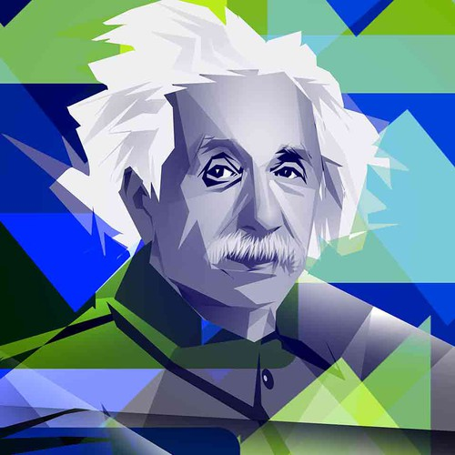 Cubistic Einstein Illustration