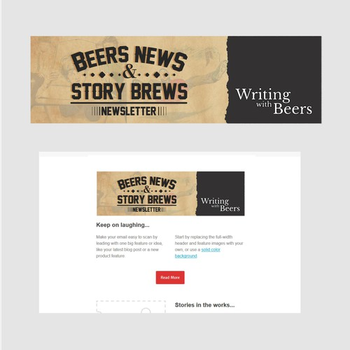 Newsletter masthead design for up-and-coming author
