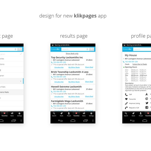 Yellow White Page App / Redesign - Color scheme - make more user friendly