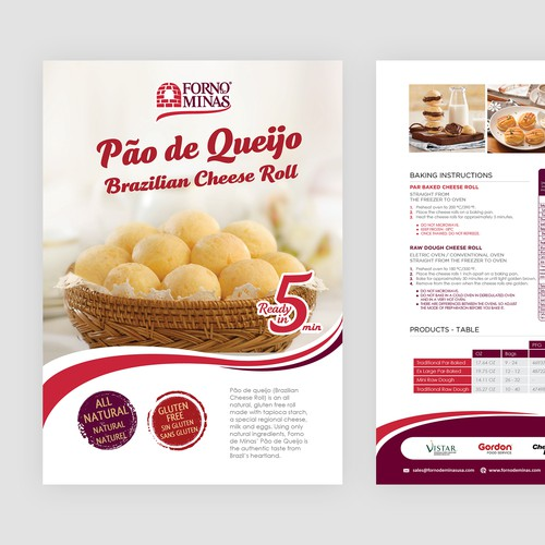 Sales Sheet For A Brazilian Cheese Roll Company | It's Mouth Watering