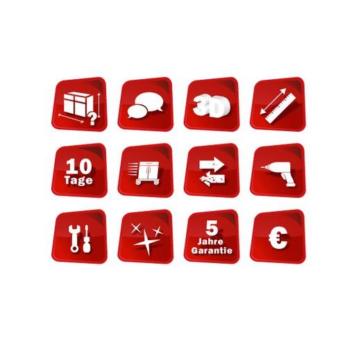 Erstellt ein Icon-Set für Service Leistungen beim Küchenverkauf