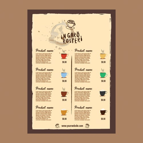 Menu for coffee shop
