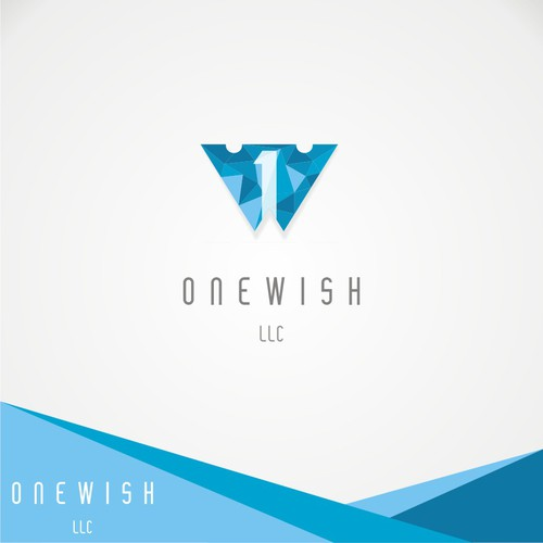 LOW POLY DESIGN. 1 & W lettering logo in center looks like an eagle ready to fly as growth as onewish's