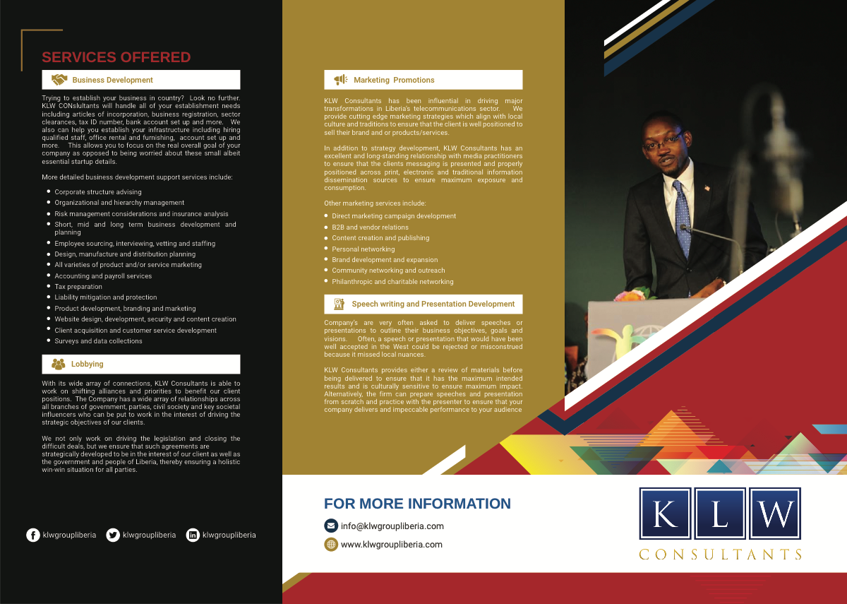 Brochure for KLW Consultants