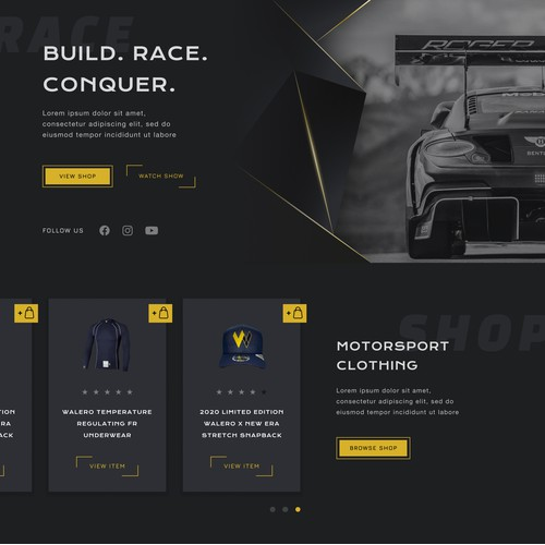 Homepage for a Luxury Motorsport Brand