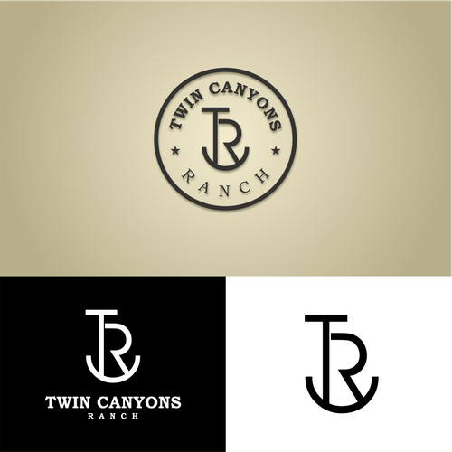 Simple logo for Twin Canyons Ranch Brand