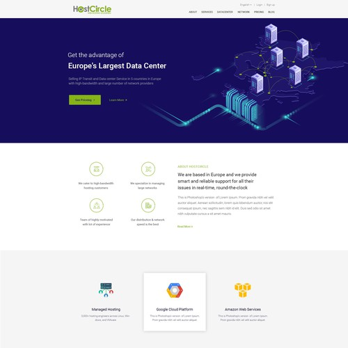web design for a datacenter company